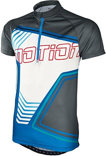 Crivit® Herren Fahrradshirt, Kurzarm 'Motion' (Gr. L 52/54, anthrazit/weiß/blau)