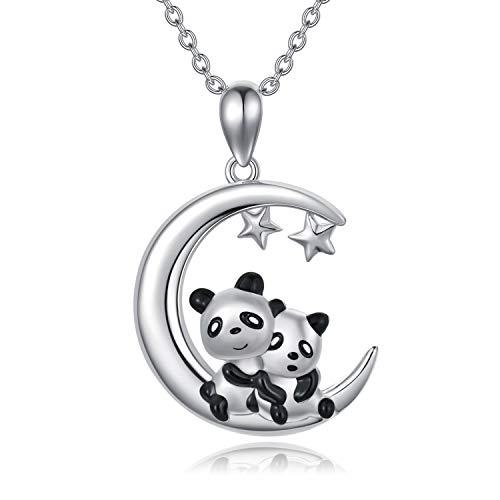 Collar de plata de ley con diseño de panda de la suerte, con colgante de animal de panda en la luna y estrella, para mujeres y niñas