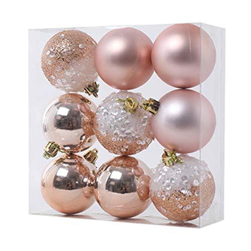 Cuasting 9 adornos de bolas de Navidad, decoración de árbol de Navidad, bolas colgantes para el hogar, Año Nuevo, decoración de fiesta, 6 cm, color champán