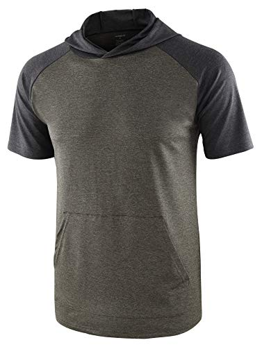 HARBETH Mens Quick Dry 4 Way Stretch Short Raglan Sleeve Tech Hoodie Tee Shirts Army/Heather Black L