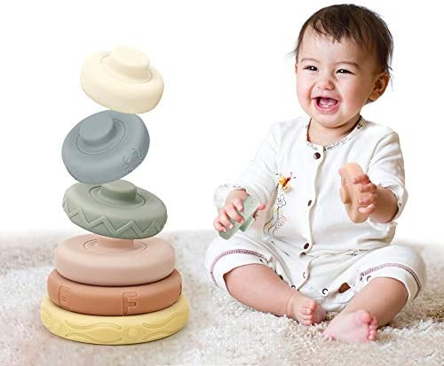 BOBXIN Stacking Nesting Rings Toy Soft Circle Stacker 6 pcs Building Stacker Teethers for Baby product image