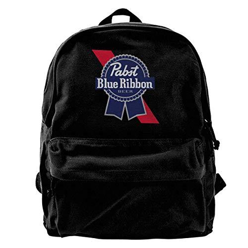 NJIASGFUI Rucksack aus Segeltuch mit blauem Band und Bier-Logo, für Fitnessstudio, Wandern, Laptop, Schultertasche für Herren und Damen
