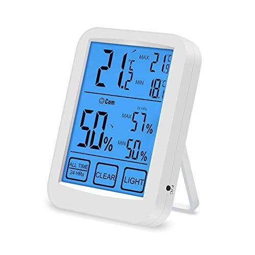 HUA-Wekker Draadloze Digitale LCD Groot Scherm Aanraakbare Weer Alarm Klok, Temperatuur en Vochtigheid Monitor Binnen en buiten, Weer Klok voor de Ouderen 12.2X9.1X2.8cm Kleur: wit