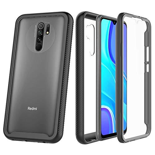 ZHXMALL eu Funda para Xiaomi Redmi 9 Case, 360 Grados Carcasa Cristal Ultra Fina PC Duro Panel Posterior Carcasa, Anti-Choque Anti-Arañazos Marco de TPU Suave Transparente Protectora Cover, Negro