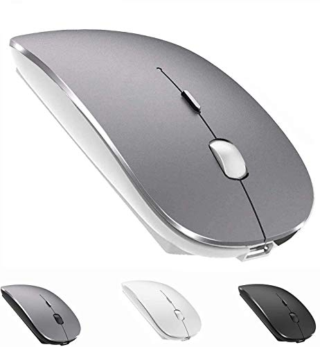 Bluetooth Mouse Rechargeable Wireless Mouse for MacBook Pro,Bluetooth Wireless Mouse for Laptop PC Computer (Gray+White)