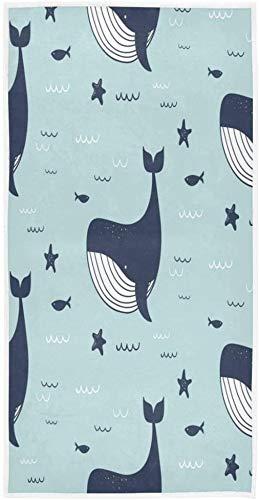 Dibujos Animados Ballena delfín Estrella de mar mar Toalla de impresión Personalizada 27,5 'x 15,7' Toalla de Cara Suave Absorbente hogar Cocina baño invitado Toalla