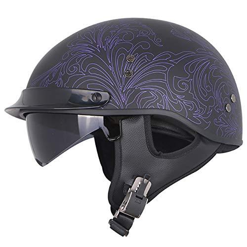 Fiberglas Semi-Motorrad Motorrad Retro Trend Helm, Jet Retro Helm Inner Sunshade 11 XXL