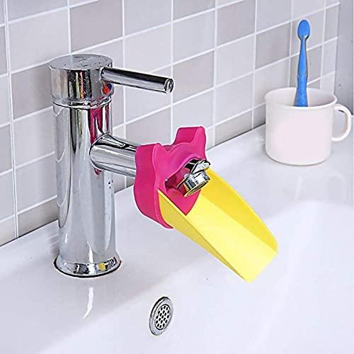 xiangwang Extensor de grifo para niños, accesorios de baño para bebé, color rosa, rojo, azul, rosa, plástico, verde, costura (color 01, tamaño: 11 cm)