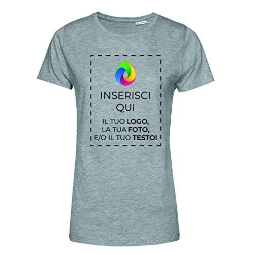 Teetaly Maglietta T-Shirt Donna con Stampa Personalizzata (Grigio, XS)