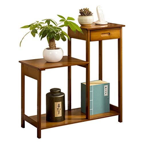 LXYStands bloementrap, bijzettafel, nachtkastje, salontafel, bloemenkruk, 2 niveaus, bamboe, tafeltjes met lade en plantenrekken