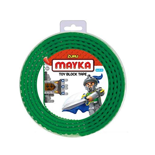 Mayka Tape Zuru Spielbaustein-Klebeband selbstklebend – 2 Pins – Dunkelgrün – 2 Meter