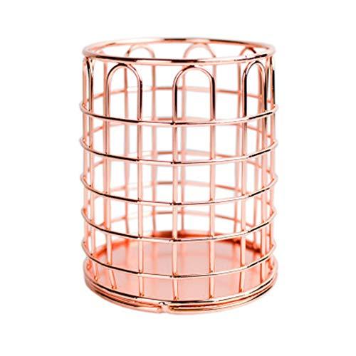 Sprießen Portalápices, Portalápices redondo de hierro forjado de oro rosa, Organizador Maquillaje Cepillo, Bote para Lápices adecuada para uso de oficina y hogar