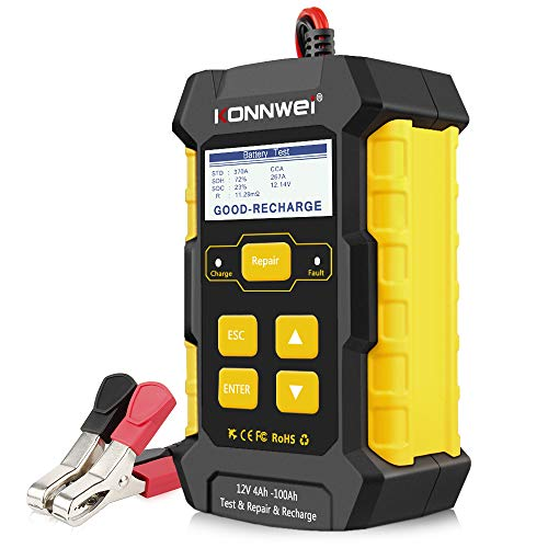 KONNWEI 3 in 1 KW510 5Amp Fully Automatic Battery Charger 12V Car Battery Tester Smart Charger Automotive Pulse Repair Maintainer Trickle Charger Battery Desulfator w/Temp Compensation