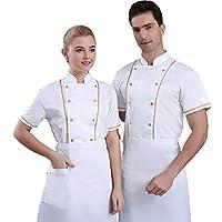 2個ホワイトユニセックス夏のファッション半袖シェフ服シェフジャケット,M