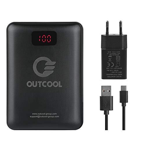 OUTCOOL Batería Externa 14400mAh con Modo de Carga Rápida QC3.0 para Ropa Calefactable Eléctrico, con Pantalla LED de Potencia y Adaptador de Carga