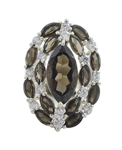 riyo regelmäßiger 925er massiver Sterling Silber idealer natürlicher brauner Ring, Rauchquarz brauner Steinsilberring