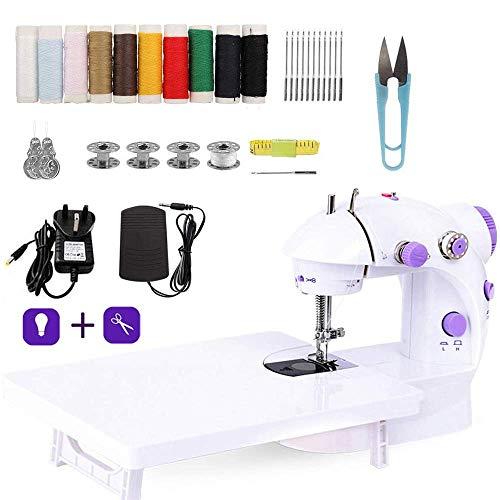 Mini-Nähmaschine mit Erweiterungstisch, mit LED-Licht, für Haushalt, Reisen, Kinder, Anfänger