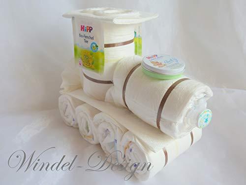 Windeltorte Windelzug Lok Windellok Junge ♥ Geschenk ♥ Babyparty ♥ Geburt oder Taufe ♥ auf Wunsch mit Grußkärtchen