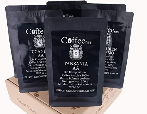Coffeenees Kaffee Arabica Bohnenkaffee Probierset 6 x 100 g | Ganze Bohnen geröstet, 6 unterschiedliche Kaffeesorten | Verschiedene Aromen, Säuren und Körper | Für Kenner und Kaffeeliebhaber