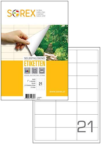 Sorex universele etiketten zelfklevend wit voor alle printers, 25 vellen DIN A4, premium stickers, sterke kleefkracht, barcode, adresetiketten, live snit 25 vellen. 66x40 mm