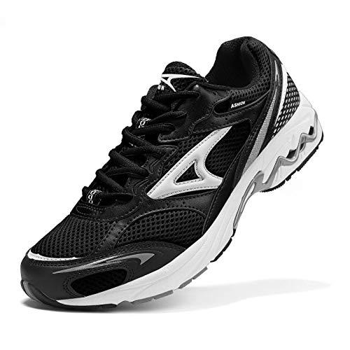 ASHION Laufschuhe Herren Sportschuhe Straßenlaufschuhe Jungen Sneaker Joggingschuhe Turnschuhe Walkingschuhe Traillauf Fitness Schuhe 45 Schwarz