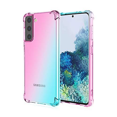 GOGME Cover per Samsung Galaxy S21 Plus (S21+) 5G, Custodia in TPU a Gradiente Colori, Rinforzare la con Quattro Angoli Custodia Trasparente Silicone Morbida TPU Ultra Sottile Case (Rosa/Verde)