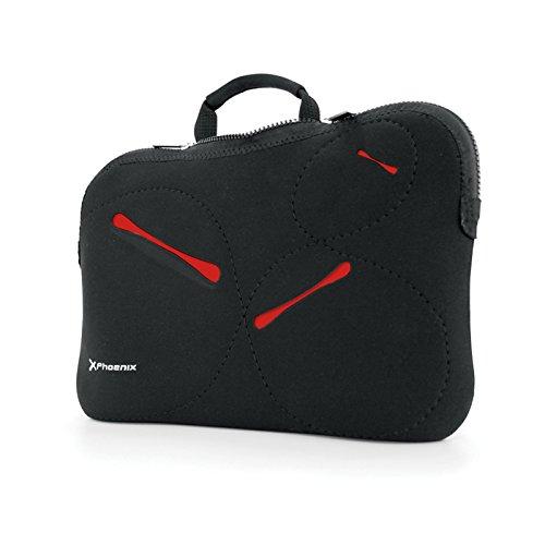 Phoenix Technologies Stockholm - Funda maletin Sleeve Neopreno para portatil Netbook hasta 13.5', Color Negro y Rojo
