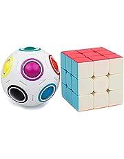 Georgie Porgy 2 Stks Magic Rainbow Ball 3x3 Cube Set Speed Puzzle Ball Cube Fidget Speelgoed voor Kids Volwassenen Hersenen Teasers Educatief Speelgoed IQ Games Verjaardagscadeaus