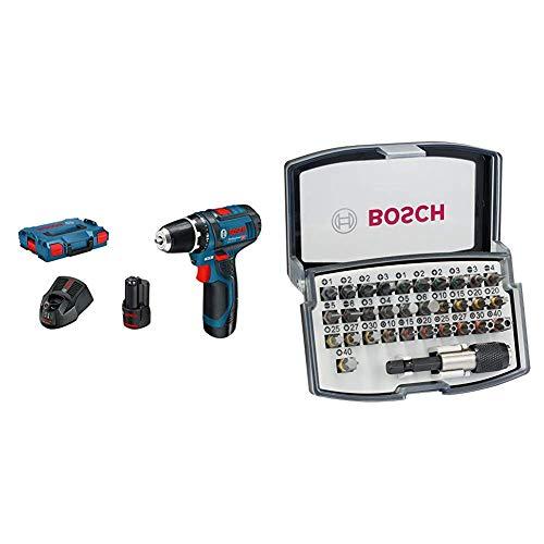 Bosch Professional 0601868109 Atornillador a batería, 10.8 W, 12 V, Negro, Azul + Bosch Professional - Set de 32 unidades para atornillar