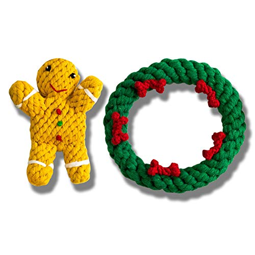 Cotton Rope Dog Detnal Chew Toy Safe Durable and Handwoven Chewing and Teething Cleaning Toys for Puppy Christmas Pet Gift Set Christmas Wreath + Ginger Bread