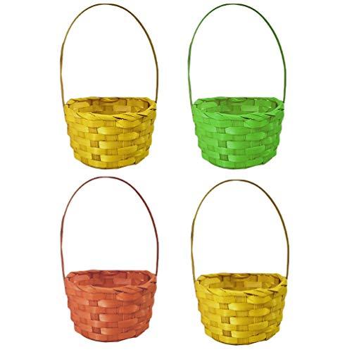 PRETYZOOM 4 Piezas de Mimbre Canasta de Pascua Mini Cestas Tejidas de Ratán Canasta de Huevos de Pascua para Niños Canasta de Regalo de Pascua Divertida para Toodlers Favores de La Fiesta