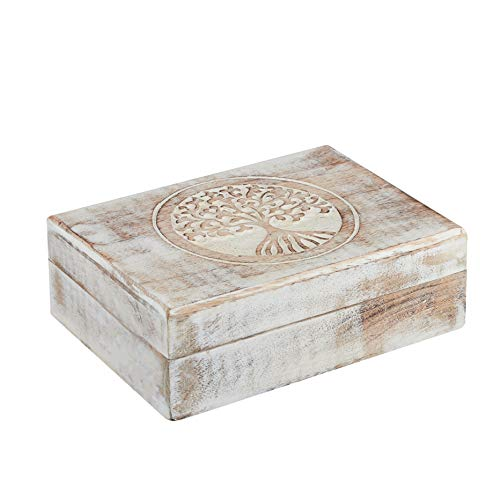 Wooden Jewelry Box Organizer - White Shabby Chic Tree of Life Design - Keepsake Box 5x7 - Wooden Handmade Memory Box - Wood Box for Rings Necklace Bracelets Watches Earrings - Home Living Room Decor