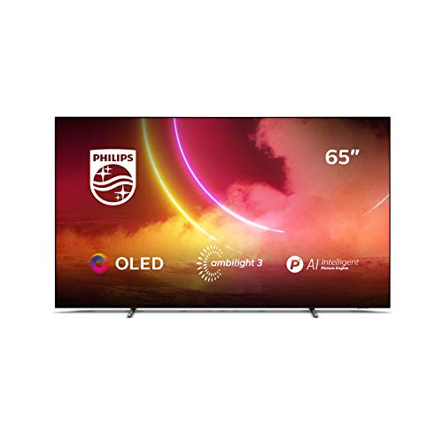 Philips Ambilight TV 65OLED805/12 65-Zoll OLED TV (4K UHD, P5 AI Perfect Picture Engine, Dolby Vision, Dolby Atmos, HDR 10+, Sprachassistent, Android TV) Mattgrau/Dunkel Chrom (2020/2021 Modell)
