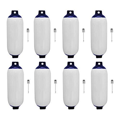 Homyl Aile de Bateau avec Protection D'Amarrage De Bateau Marine 8pcs Bleu Blanc