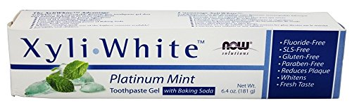 NOW Foods Solutions Xyli White Toothpaste Gel with Baking Soda Platinum Mint - 6.4 oz