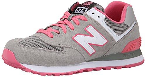 New Balance Women's 574 V1 Core Sneaker, Grey/Pink, 8.5 B US