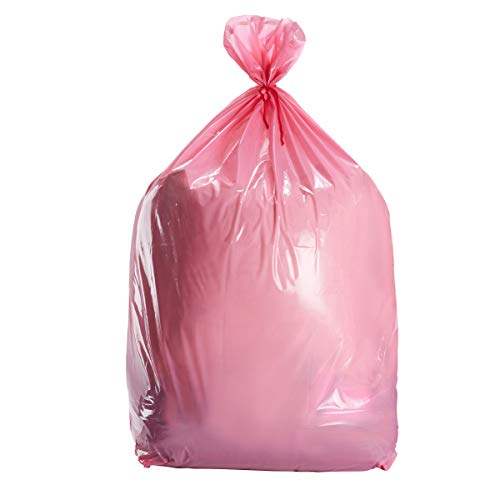 Pink Large Gift Bags - 6-Pack Jumbo Plastic Sack for Wrapping Oversized Gifts, 36 x 48 Inches, Includes Red String