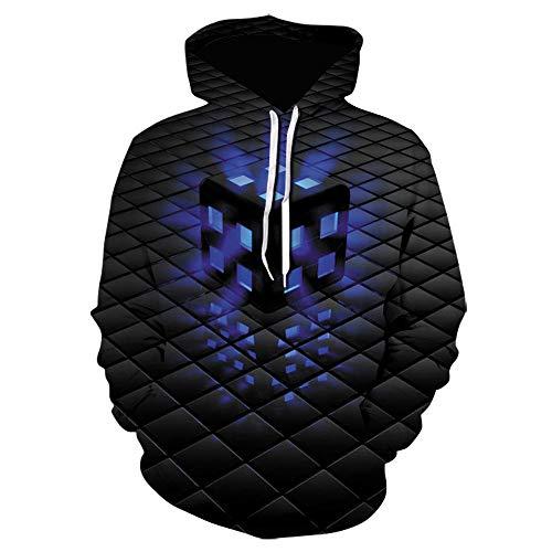Sweatshirts Hombre Impresión Digital En 3D Cubo De Rubik Figura Geométrica Patrón Sudadera con Capucha De Los Hombres Suéter Flojo-We-1628_L