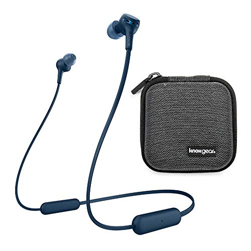 Sony WI-XB400 Extra Bass Wireless in-Ear Headphones (Blue) with Knox Gear Hardshell Earphone Case (2 Items)