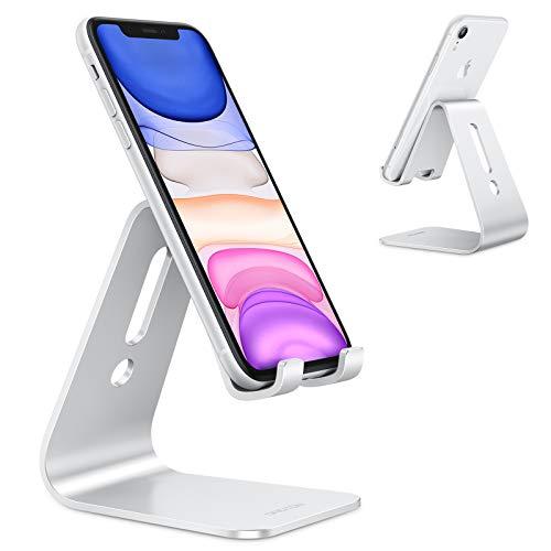OMOTON Handy Ständer, Aluminium Handy Halter für Video/Büro, Tisch Handy Halterung kompatibel mit iPhone 12/12 pro/11 Pro/Xs Max/Xr/SE/8/7/6, alle 3.5-11 Zoll Android-Smartphones und Switch, Silber