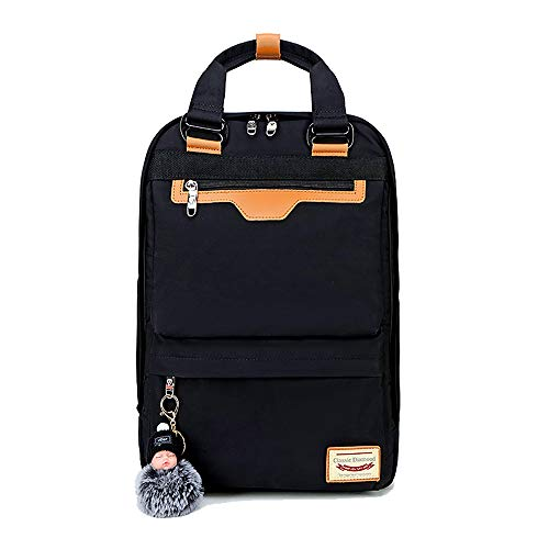 Unisex Lightweight Backpack School Bag Water-Resistant Casual Rucksack fits 15 inch Laptop for Boys Girls Men and Women,black-black