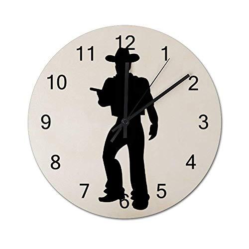 Reloj de Pared de Madera Redondo rústico silencioso sin tictac de 10 Pulgadas, Vaquero con Silueta de Pistola, decoración de Pared de Granja Vintage para el hogar, la Oficina, la Escuela