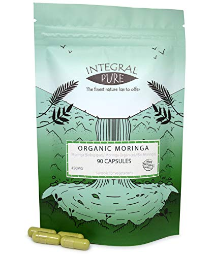 Organic Moringa Oleifera Capsules | 450mg | 100% Pure Moringa Powder | Vegan Friendly (30)