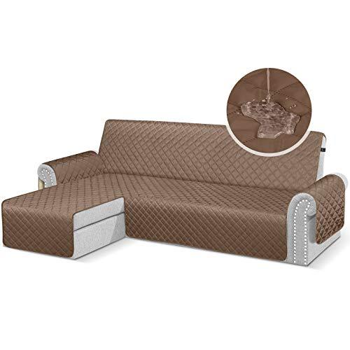 TAOCOCO Fundas de sofá para perros, impermeables, con cinta de goma, espuma antideslizante para proteger los derrames, el desgaste y las grietas (marrón, 3 + 3 plazas a la izquierda).