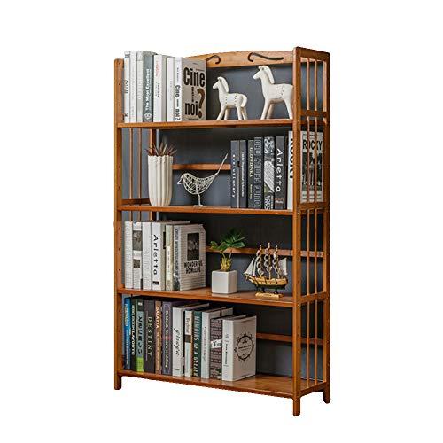 KELE Natural Bamboo Nivel 3-4 Estante de Libro, Estantería para Libros, Espesado Estante del almacenaje Librería Impermeable Sala Dormitorio Oficina En página de Inicio Cocina-F 80X25X127cm