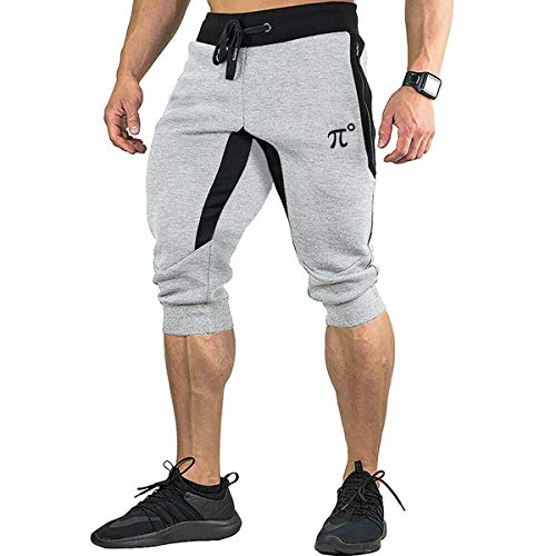 PIDOGYM Men's 3/4 Joggers Capri Casual Pants Running Gym Shorts with Zipper Pockets,Light Grey,Medium