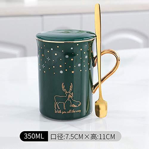 Heliansheng Taza de cerámica de Ciervo Estrellado, Taza de Desayuno para Hombres y Mujeres, Taza de café Creativa para Parejas, Caja de Regalo con Cuchara B87