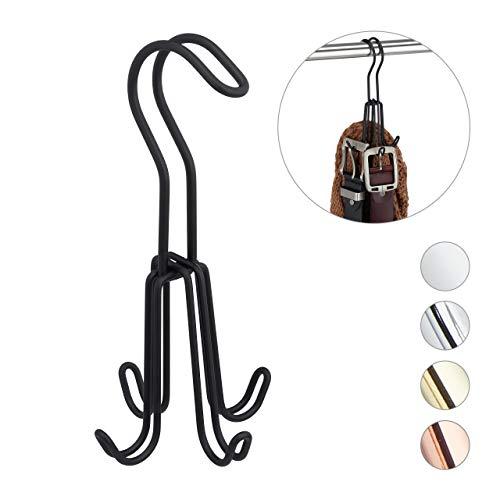 Relaxdays Gürtelhalter, Gürtelbügel für Kleiderschrank, Metall, Gürtel & Handtaschen, 4 Haken, 18 x 9 x 9 cm, schwarz, 1 Stück