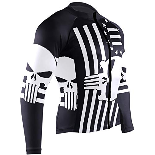 Cycling Jersey Men Long Sleeve Tops Punisher Skull Three Percenter American Flag Bike Shirts Bicycle Clothes Jacket