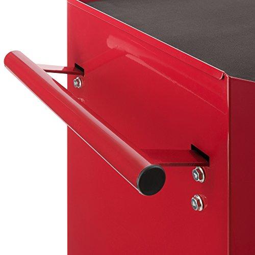 Arebos Werkstattwagen 7 Fächer/zentral abschließbar/Anti-Rutschbeschichtung/Räder mit Festellbremse/Massives Metall/rot, blau oder schwarz (Rot) - 5